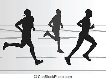 detallado, mujer, ilustración, maratón, activo, corredores, ...