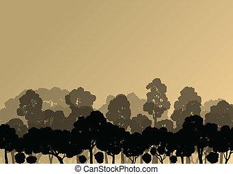 detallado, natural, árboles, siluetas, vector, ilustración, ...