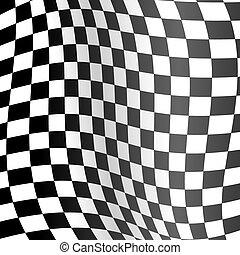 detallado, ondulado, realista, fondo., bandera, vector, carreras, 3d