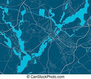 detallado, panorama., ciudad, lineal, mapa, potsdam, cityscape, impresión, map.