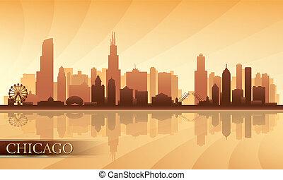 detallado, perfil de ciudad, silueta, chicago