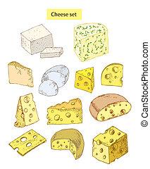 detallado, queso, conjunto, ilustración