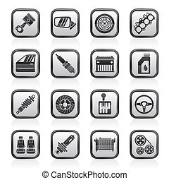 detallado, repuestos de automóviles, iconos