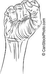 detallado, señal, apretado, mano, alto, tenido, protesta,...