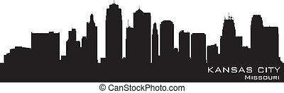 detallado, silueta, ciudad, kansas, vector, misuri, skyline.