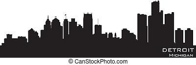detallado, silueta, michigan, vector, skyline., detroit
