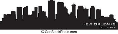 detallado, silueta, vector, orleans, nuevo, skyline.,...