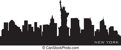 detallado, silueta, vector, york, nuevo, skyline.