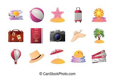 detallado, sombrero, paquete, viaje, estilo, pelota, iconos, estrellas de mar, vacaciones del verano, bolsa de playa