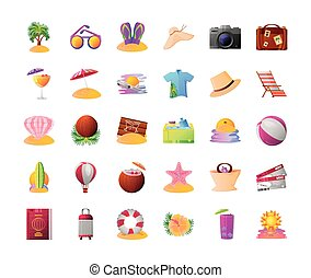 detallado, sombrero, tal, viaje, estilo, pelota, iconos, gafas de sol, verano, maleta, vacaciones, contiene, más, palma