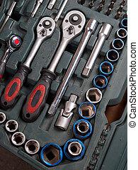 detalle, arriba, kit, caja de herramientas, cierre,...