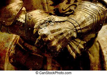 detalle, caballero, armor., guantes, de, un, knight., sepia, effect.