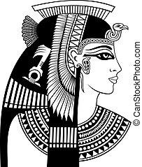 detalle, de, cleopatra, cabeza