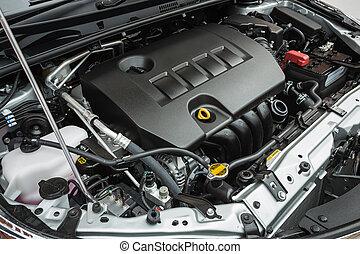 detalle, de, coche nuevo, motor