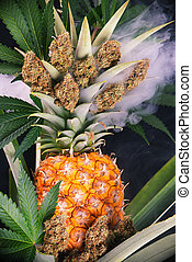 detalle, de, secado, cannabis, brotes, (green, grieta,...