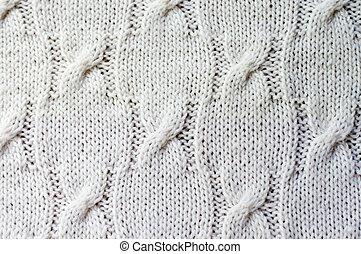 detalle, de, tejido, artesanía, tejer, suéter