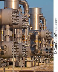 detalle, de, un, gas natural, planta de procesamiento