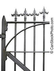 detalle, de, un, hierro forjado, puerta