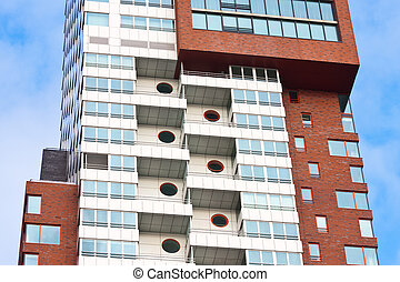 detalle, de, un, moderno, torre, edificio, con, apartamentos