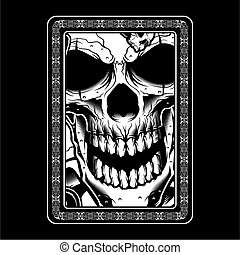 detalle, dibujo, vendimia, cráneo, mano, retro