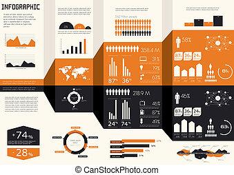 detalle, infographics, set.