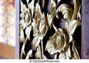 detalle, madera, ventana, decoración, tallado