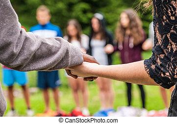 detals, van, zwarten, en, withe, handen, verenigd