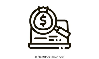detection of money in computer Icon Animation. black detection of money in computer animated icon on white background
