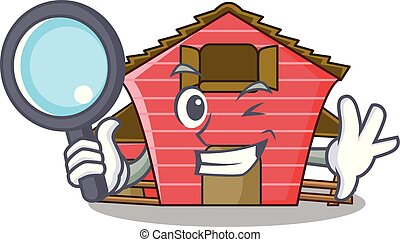 Detective a red barn house character cartoon