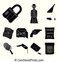 Detective agency black icons in set collection for design....