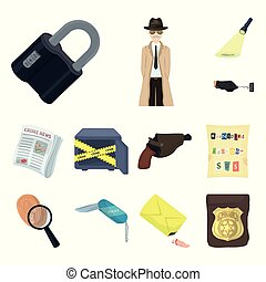 Detective agency cartoon icons in set collection for design....