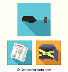 Detective agency flat icons in set collection for design....