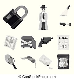 Detective agency monochrome icons in set collection for...