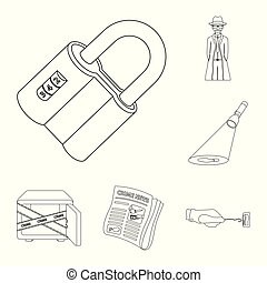 Detective agency outline icons in set collection for design....
