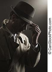 detective, ajuste, el suyo, sombrero