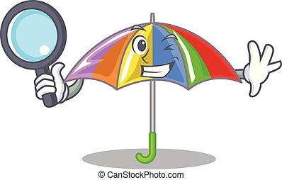 detective, arcobaleno, ombrello, isolato, mascotte