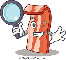 Detective bacon character cartoon style vector illustration