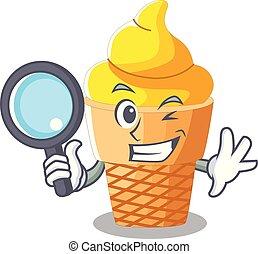Detective banana ice cream isolated on mascot