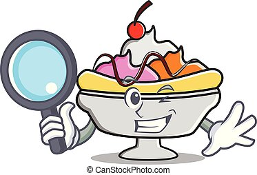Detective banana split character cartoon vector illustration
