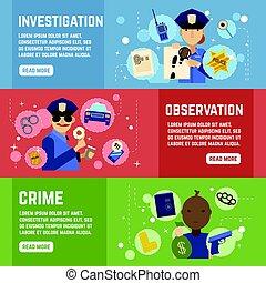 detective, banieren, set, particulier