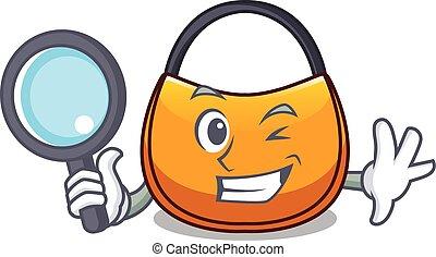 Detective beautifully hobo bag on character funny vector...