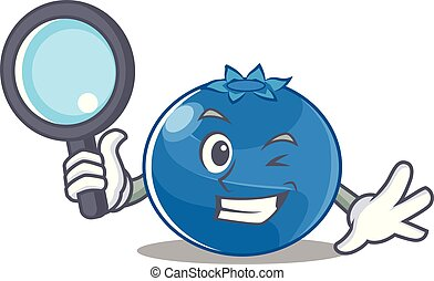 Detective blueberry character cartoon style