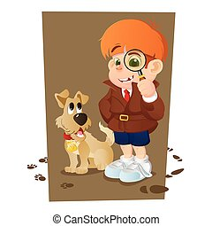 detective boy and his dog