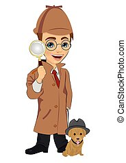 Detective boy with dog holding magnifying glass