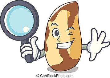 Detective brazil nut character cartoon