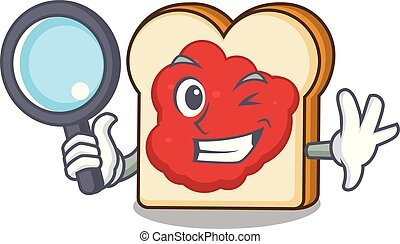 Detective bread with jam character cartoon