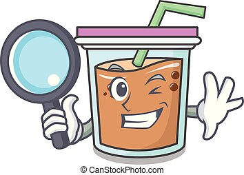Detective bubble tea character cartoon