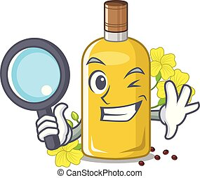 Detective canola oil in the mascot shape vector illustration