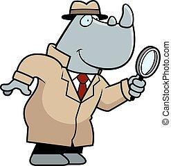 detective, caricatura, rinoceronte