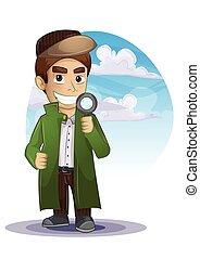Cartone animato uomo caucasico investigatore detective